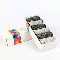 Женские носки с люрексом в подарочной коробке. 6 пар. Разные цвета.