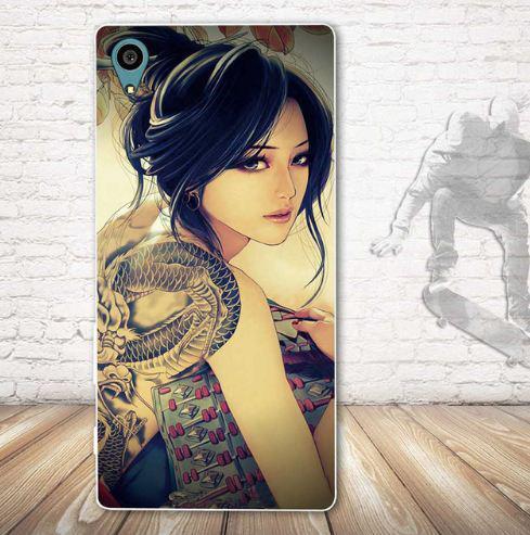 Оригинальный чехол накладка для Sony Xperia Z5 E6633 с картинкой Девушка с тату