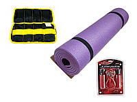Набор для фитнеса 3в1 коврик + утяжелители + скакалка