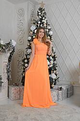 Аренда! Длинное оранжевое ассиметричное платье.
