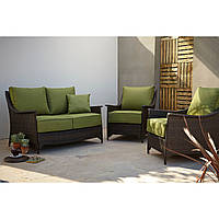 Набор садовой мебели George Home Sumatra 3 Piece Conversation Sofa Set in Olive Green