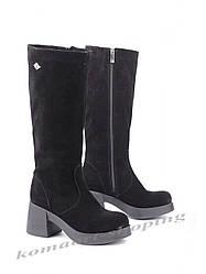 Женские замшевые сапоги на   каблуке, черные V 1059