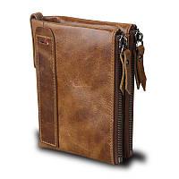 Мужской кошелек из натуральной кожи. Кожаный кошелек мужской портмоне из кожи Коричневый, фото 1
