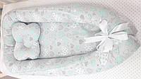 Позиционер люлька кокон гнездышко для новорожденного длина 80х50 см 3969 Бирюзовый