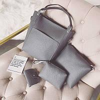 Женская сумка набор 4в1 + мини сумочка и косметичка темно-серый, фото 1