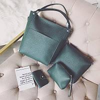 Женская сумка набор 4в1 + маленькая сумочка и косметичка зеленый опт, фото 1