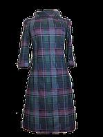 Женское теплое платье в клетку с хомутом П190