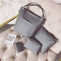 Женская сумка набор 4в1 + мини сумочка и косметичка темно-серый опт, фото 1