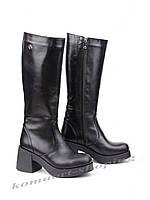 Женские кожаные сапоги на   каблуке, черные V 1059
