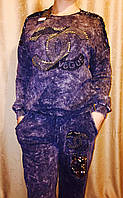 Стильный красивый женский синий костюм под джинс: брюки и кофта Chan=l пайетки, стразы и камни