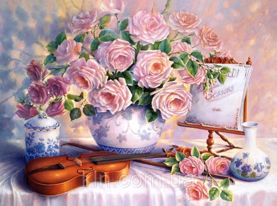 Алмазная вышивка без коробки MyArt Скрипка и розы 50 х 40 см (арт. MA694)