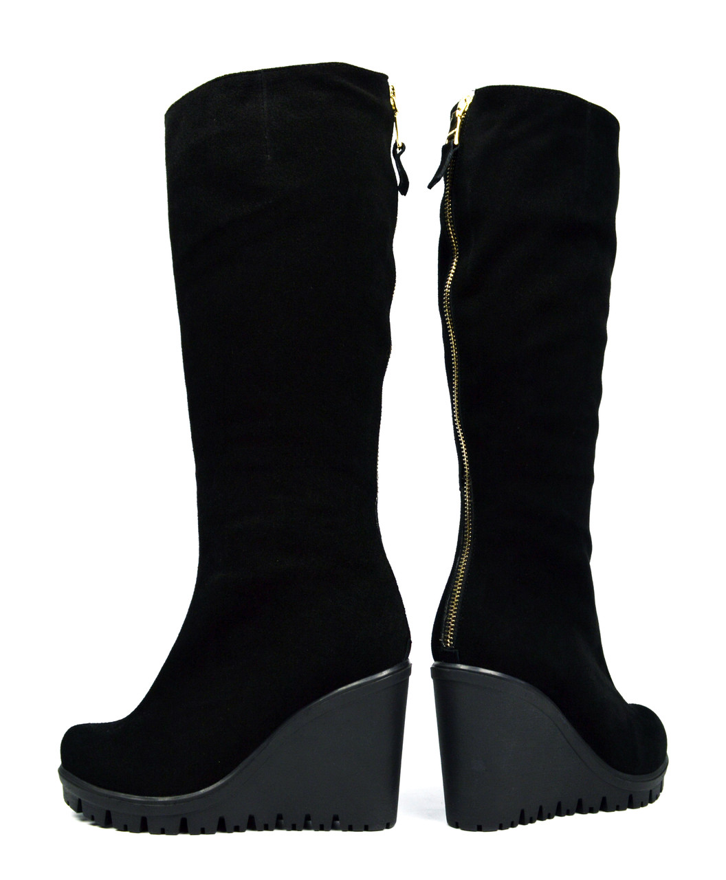 Шикарные черные зимние женские замшевые сапоги SAIL на танкетке ( с мехом, шерсть ) ( Только 40 р. )