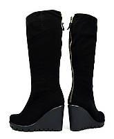 Шикарные черные зимние женские замшевые сапоги SAIL на танкетке ( с мехом, шерсть ), фото 1