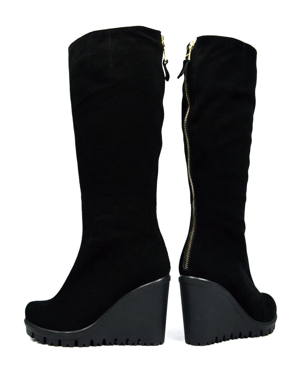 5b2b08a52 Шикарные черные зимние женские замшевые сапоги SAIL на танкетке ( с мехом,  шерсть ) -
