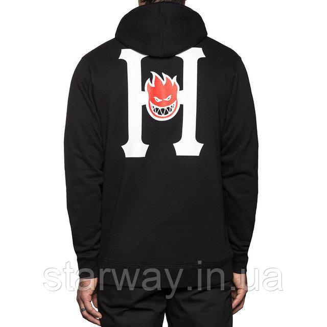 Худи чёрная HUF*Spitfire logo   Толстовка стильная