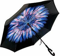 Ветрозащитный зонт обратного сложения UP-brella, АП брелла зонт с ветрозащитой умный зонт. Цветок сине-белый