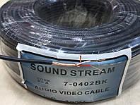 """Кабель аудио-видео """"Sound Stream"""" 2 жилы, в экране, круглый, диам.-2,8мм, чёрный, 100м"""