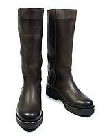 Темно-коричневые зимние женские кожаные сапоги BLIZZARINI на меху ( шерсть, европейка ), фото 1