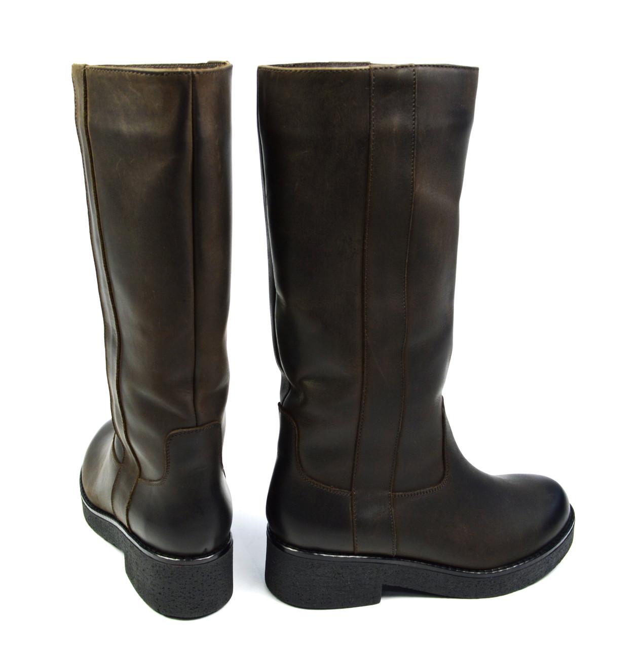 a7d63c9e9 ... Темно-коричневые зимние женские кожаные сапоги BLIZZARINI на меху (  шерсть, европейка ),