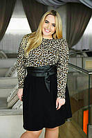 Повседневное платье леопардового принта батал