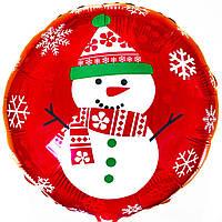 """Фольгированный шар С/РИС FM Круг 18"""" """"новый год снеговик на красном"""""""