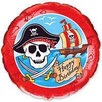 """Фольгированный шар с рисунком Flexmetal Круг 18"""" Happy Bithday  пираты"""