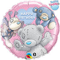 "Фольгированный шар с рисунком Anagram Круг 18"" me to you happy birthday друзья"