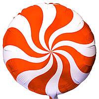"""Фольгированный шар с рисунком Flexmetal Круг 18"""" Конфета оранжевая"""