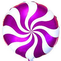"""Фольгированный шар с рисунком Flexmetal Круг 18"""" конфета розовая"""