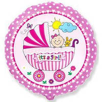"""Фольгированный шар с рисунком Flexmetal Круг 18"""" Коляска и малыш девочка"""