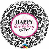 """Фольгированный шар с рисунком Anagram Круг 18"""" Happy Birthday черно-белый рисунок"""