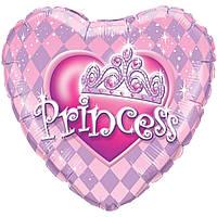 """Фольгированный шар с рисунком Anagram Круг 18"""" Тиара принцессы"""