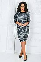 Платье-футляр с кожаными манжетами батал