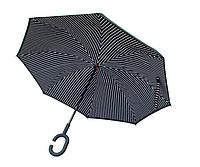 Ветрозащитный зонт обратного сложения UP-brella, АП брелла зонт с ветрозащитой умный зонт.Черно-белые полосы