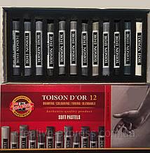 Крейда-пастель T.D'OR, 12 шт., сірі відтінки