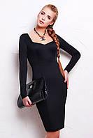 Облегающее черное платье с длинным рукавом и красивым декольте Адриана д/р