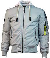 Оригінальна льотна куртка Top Gun MA-1 Nylon Bomber jacket with hoodie TGJ1735 (Grey), фото 1