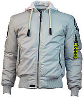 Оригинальная летная куртка Top Gun MA-1 Nylon Bomber jacket with hoodie TGJ1735 (Grey), фото 1