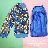 Детская теплая пижама для мальчика вельсофт  р.30,32,34