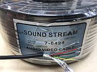 """Кабель аудио-видео """"Sound Stream"""" 4жилы, в одном экране, круглый, чёрный, 100м"""