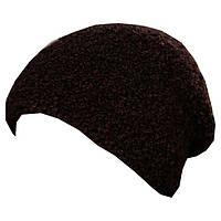 Женская вязаная шапка - носок из буклированной пряжи