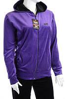 Велюровый спортивный костюм однотонный верх K100 Фиолетовый, XL