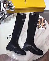 Женские сапоги ботфорты из кожи и эластичного текстиля Fendi