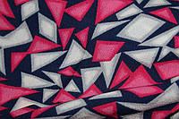 Ткань креп шифон-бабл, треугольнички красный, фото 1