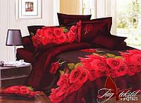 Постельное белье полуторное полисатин 3D бордо розы