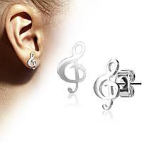 Серьги Spikes со скрипичным ключом Серебро