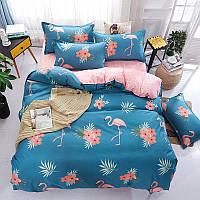 Комплект постельного белья Фламинго и цветы (двуспальный-евро) Berni, фото 1