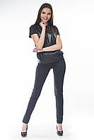 Леггинсы кукуруза черные с кожаными карманами