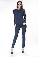 Леггинсы кукуруза синие с кожаными карманами