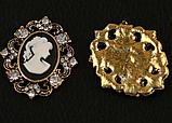 Камея в оправе античное золото со стразами 3х2,5 см, черная, фото 2